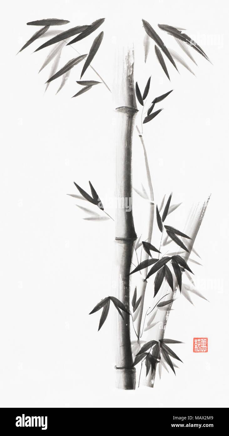 Los tallos de bambú minimalista con hojas artística ilustración de estilo oriental, el zen japonés Sumi pintura tinta negra sobre fondo de papel de arroz blanco Imagen De Stock