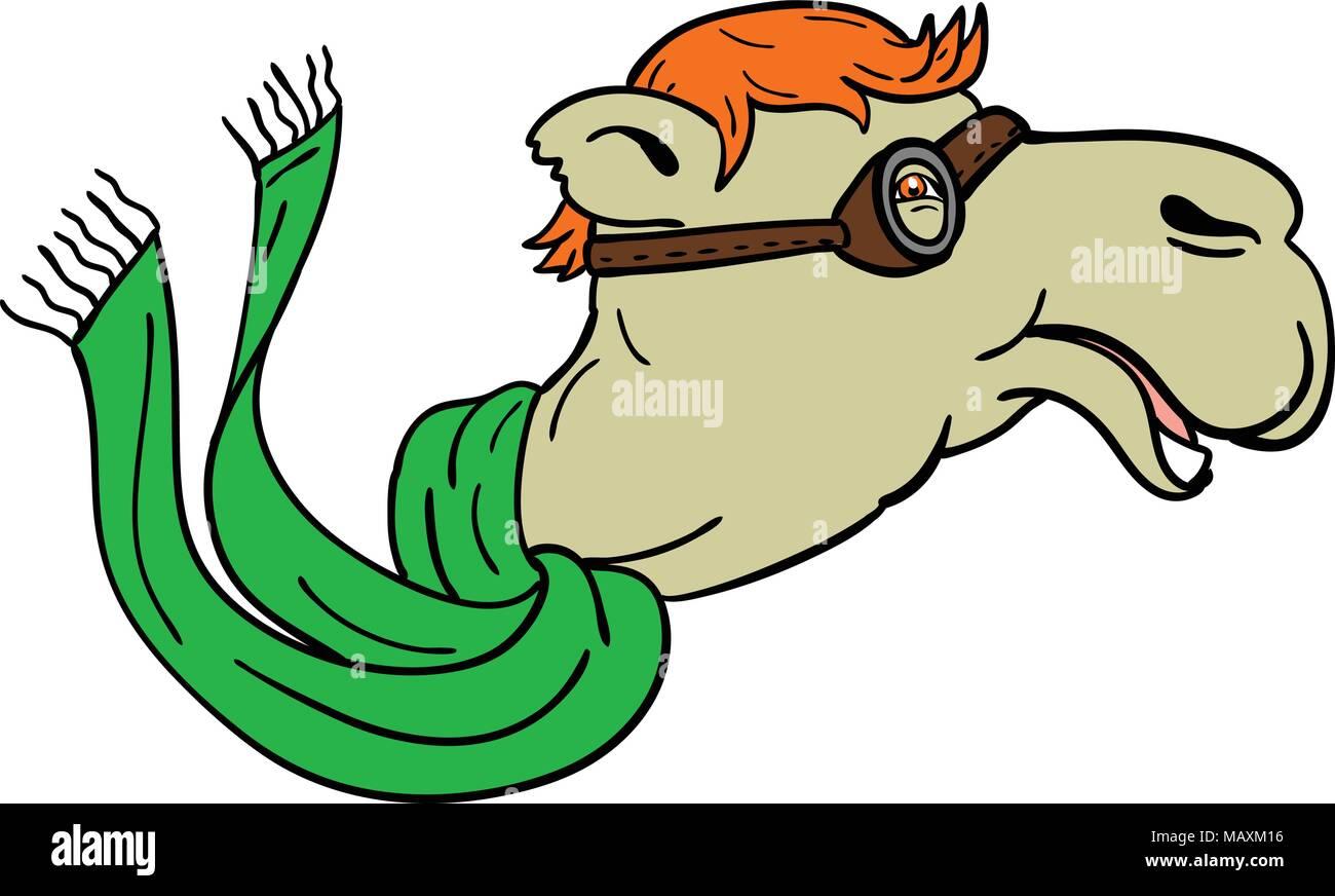 Icono de mascota ilustración de un camello llevaba gafas de aviador de la  Primera Guerra Mundial y fluyendo bufanda verde visto desde el lado de ... f03306e2ab8