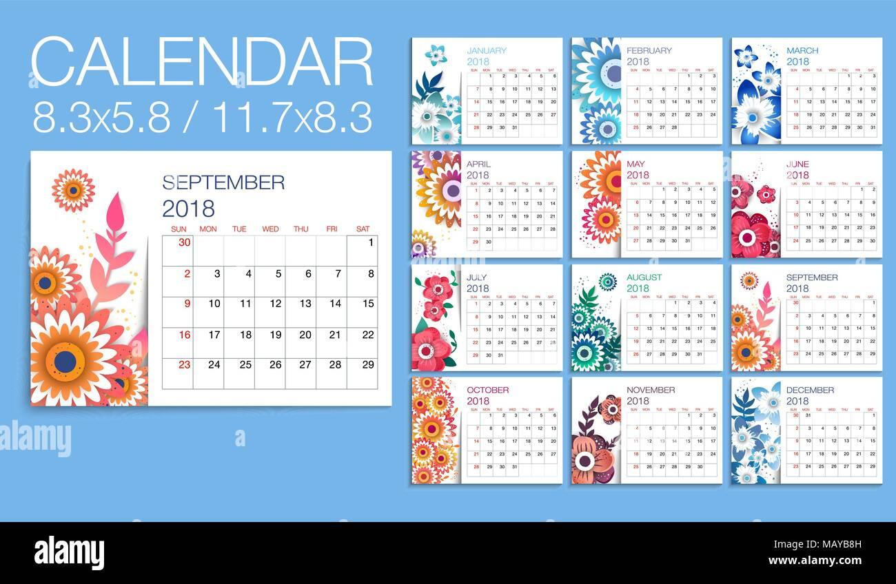 Diseño De Plantilla Floral Calendario 2018 Imprimir La