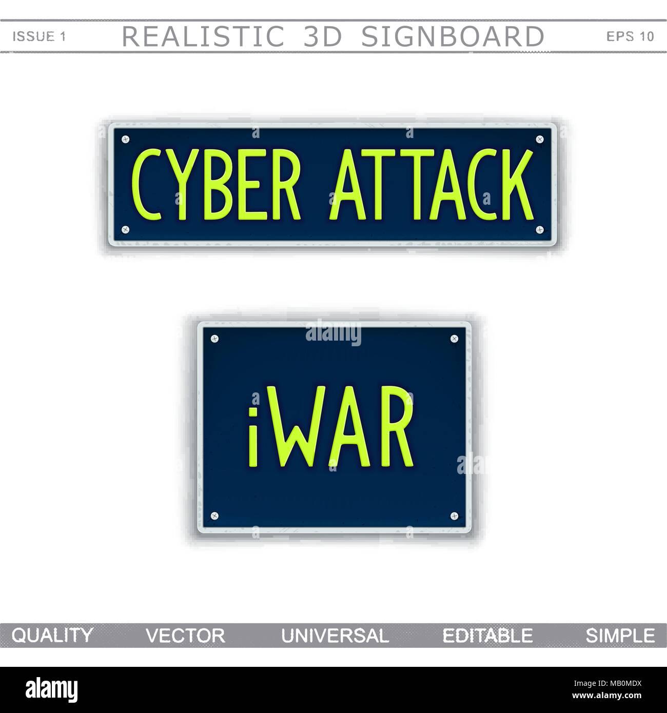 Cartel de Diseño Conceptual. Ataque cibernético. iWar. Matrícula de coche estilizados. Los elementos vectoriales Imagen De Stock