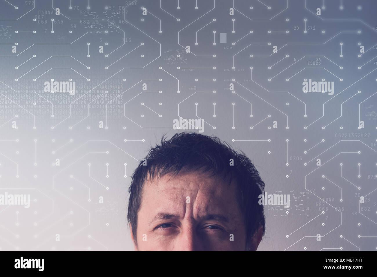 El concepto de red neural artificial con cabeza masculina y la placa de circuitos de computadora Imagen De Stock