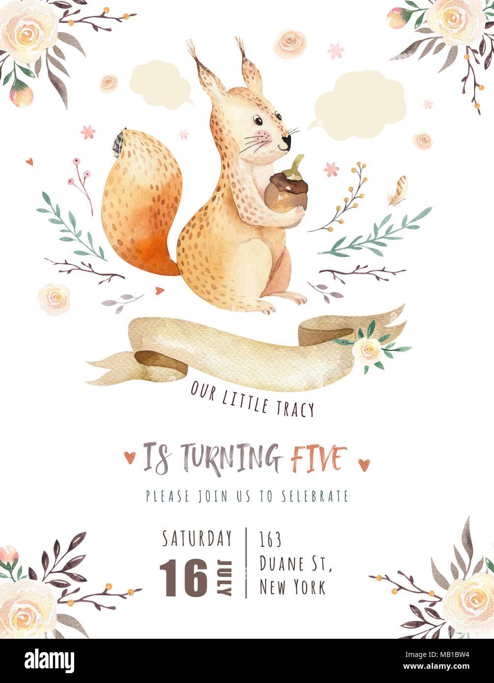 Decoracion De Baby Shower De Animales.Lindo Bebe Bohemia Acuarela Animales Ardilla Poster Para