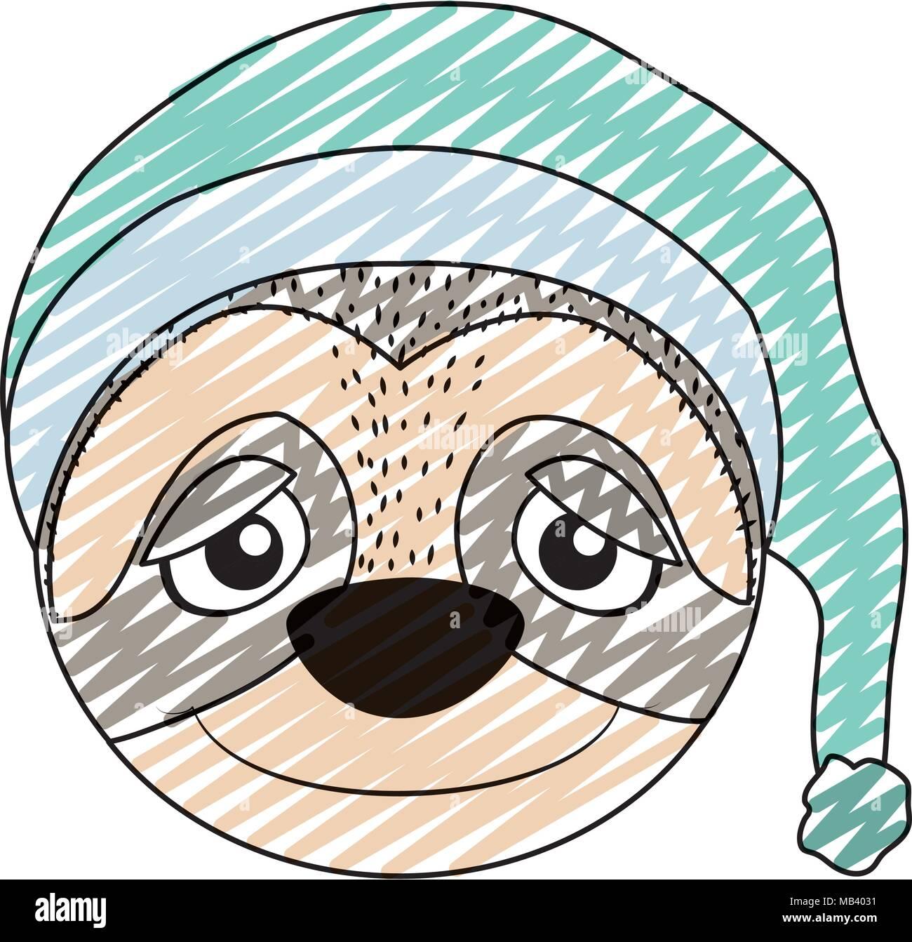 Doodle cute sloth cabeza animal con sombrero de dormir Ilustración del Vector