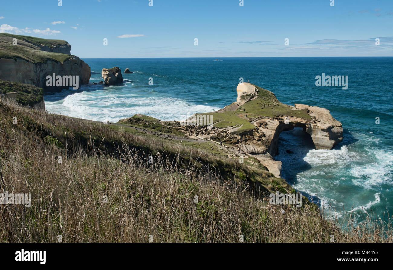 Túnel espectacular playa, Dunedin, Nueva Zelanda Imagen De Stock