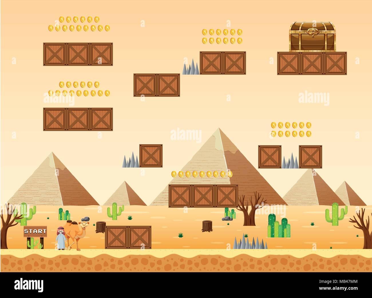 Un juego de plantillas ilustración de la escena del desierto ...