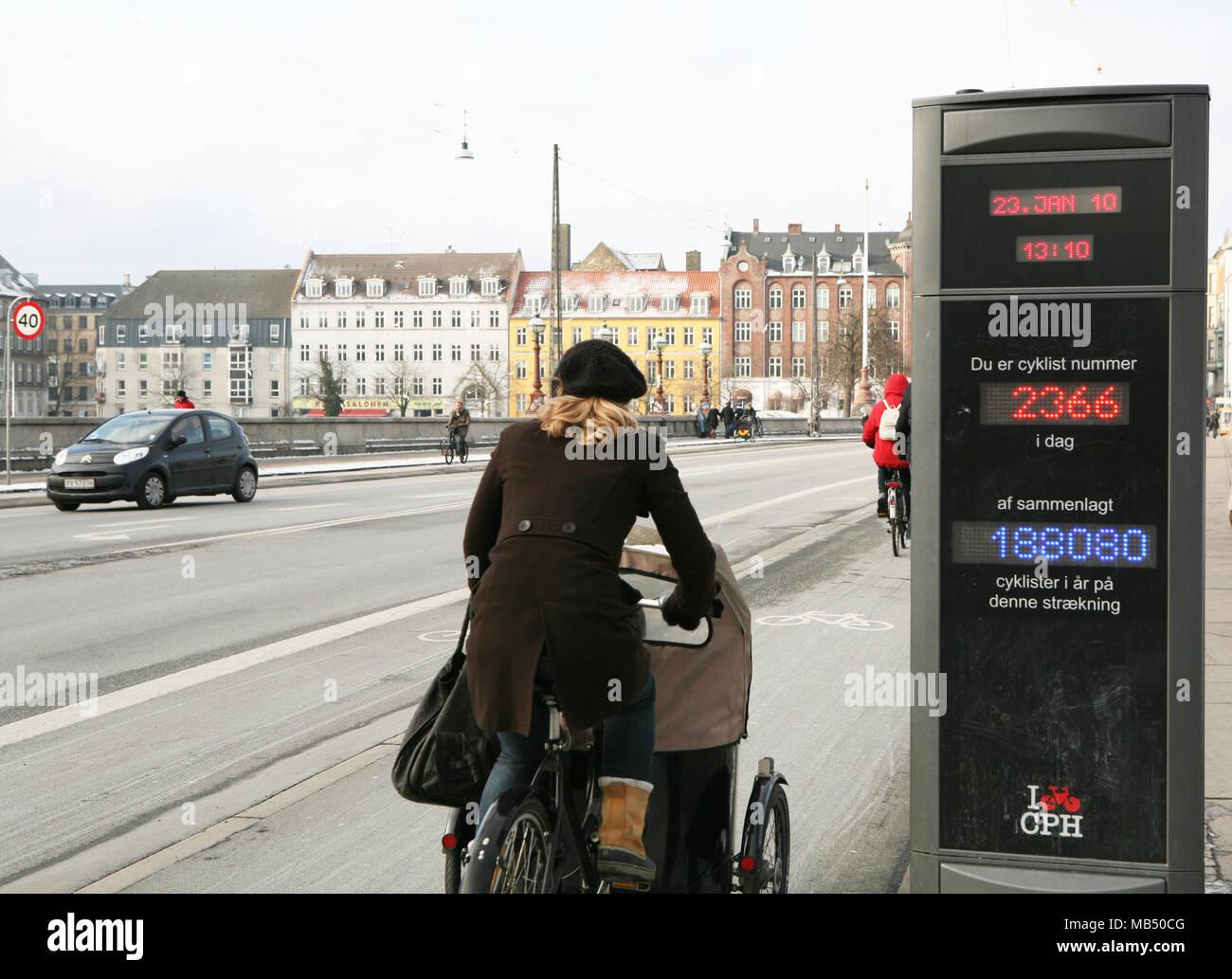 Contador de ciclos, Copenhague, Dinamarca Imagen De Stock