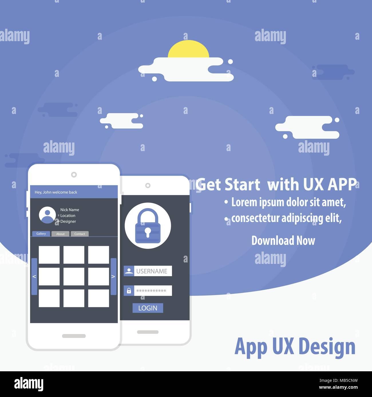 Mobile aap UX plantilla de página de aterrizaje Ilustración del ...