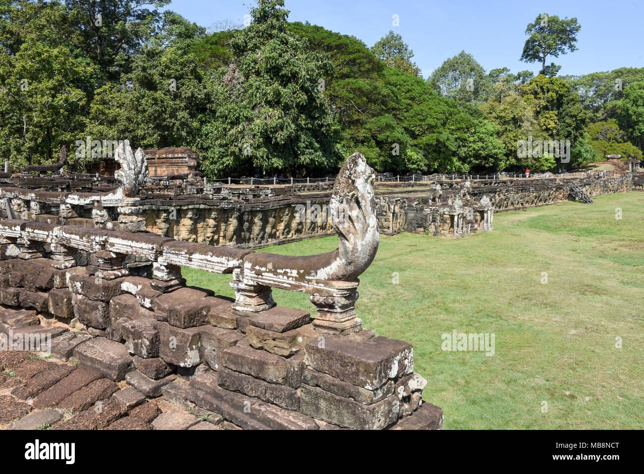 Terraza De Los Elefantes De Angkor Thom En Siemreap En