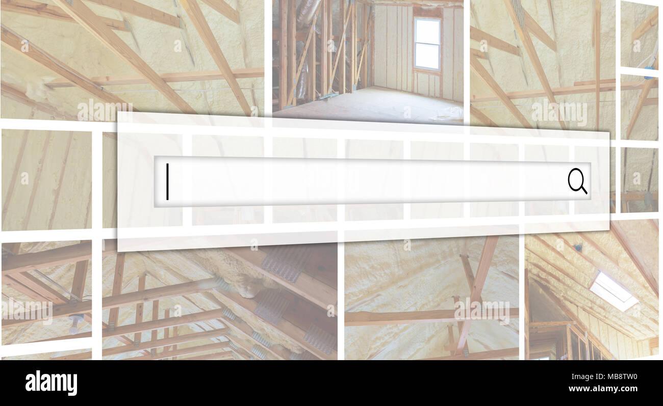 Hidro aislamiento térmico y aislamiento de pared interior vista interior construcción nueva casa residencial. Photo Collage el concepto de servicio de dating Imagen De Stock