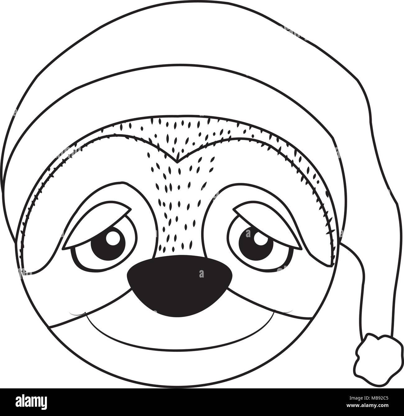 Línea sloth cute animal con cabeza durmiendo hat Ilustración del Vector