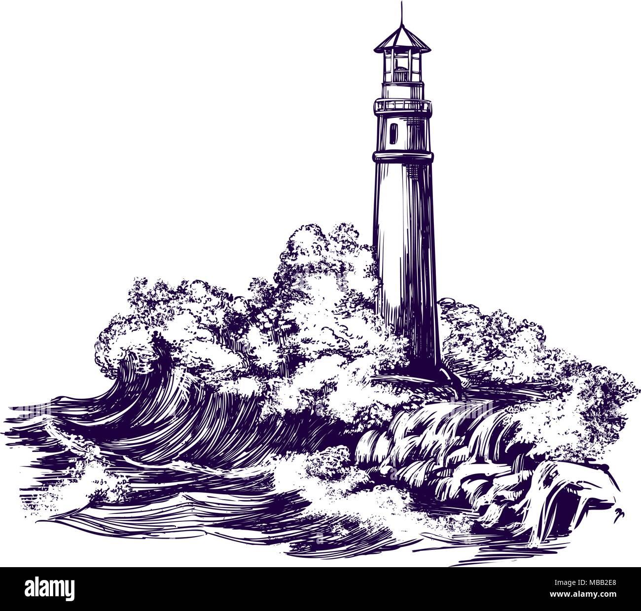 Faro Y El Paisaje Del Mar Tormentas Dibujados A Mano Ilustracion