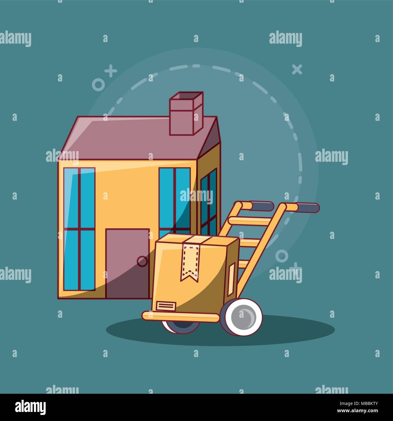 Entrega Gratuita Diseno Con Casa Y Carro De Mano Con House Sobre