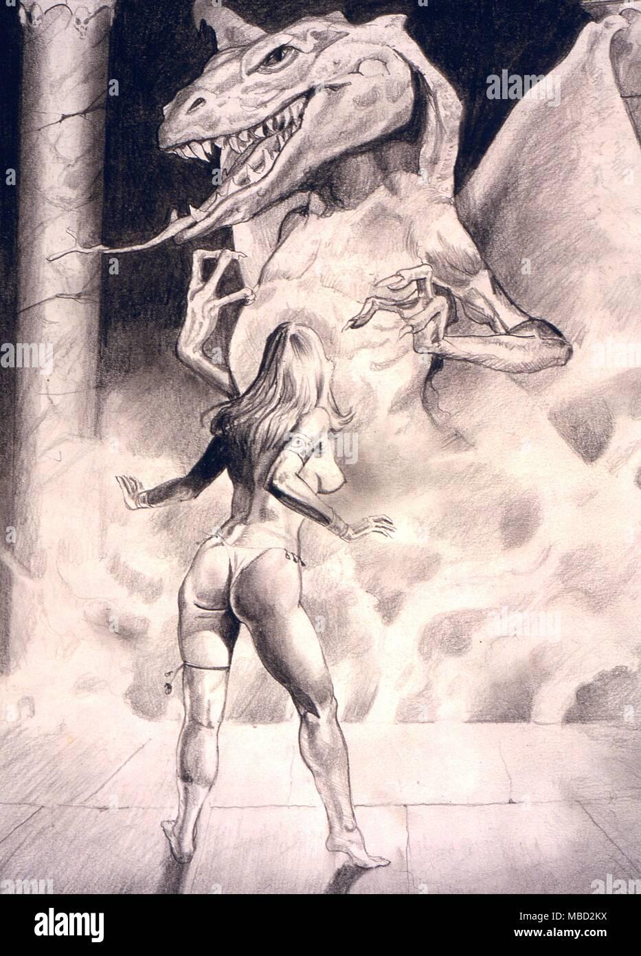 Monstruos Demond Dibujo A Lápiz Por El Artista Gordon Wain