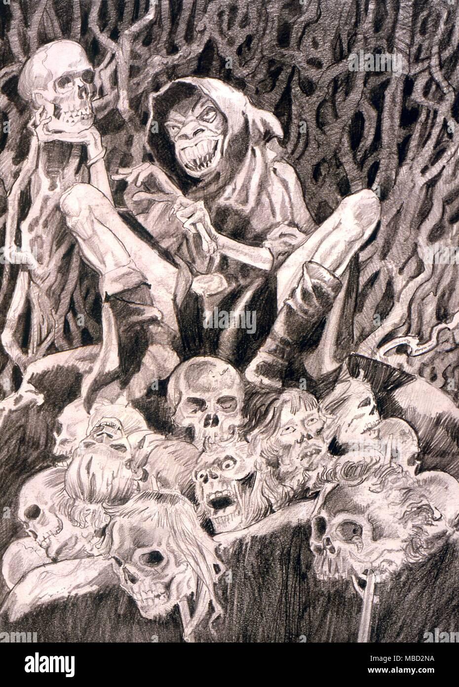 Monstruos Un Dibujo A Lápiz Titulado Head Hunter Por El Artista