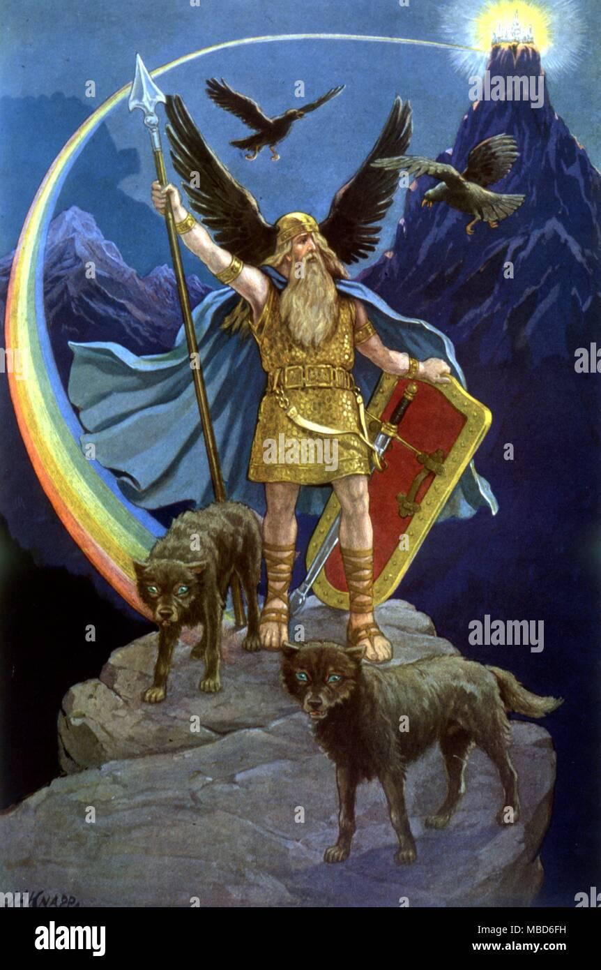 Odin, el Padre Dios escandinavo, copyright 1923 por Manly P. Hall, un esbozo de su enciclopédico de Masonic, hermético. Filosofía, 1923 Foto de stock