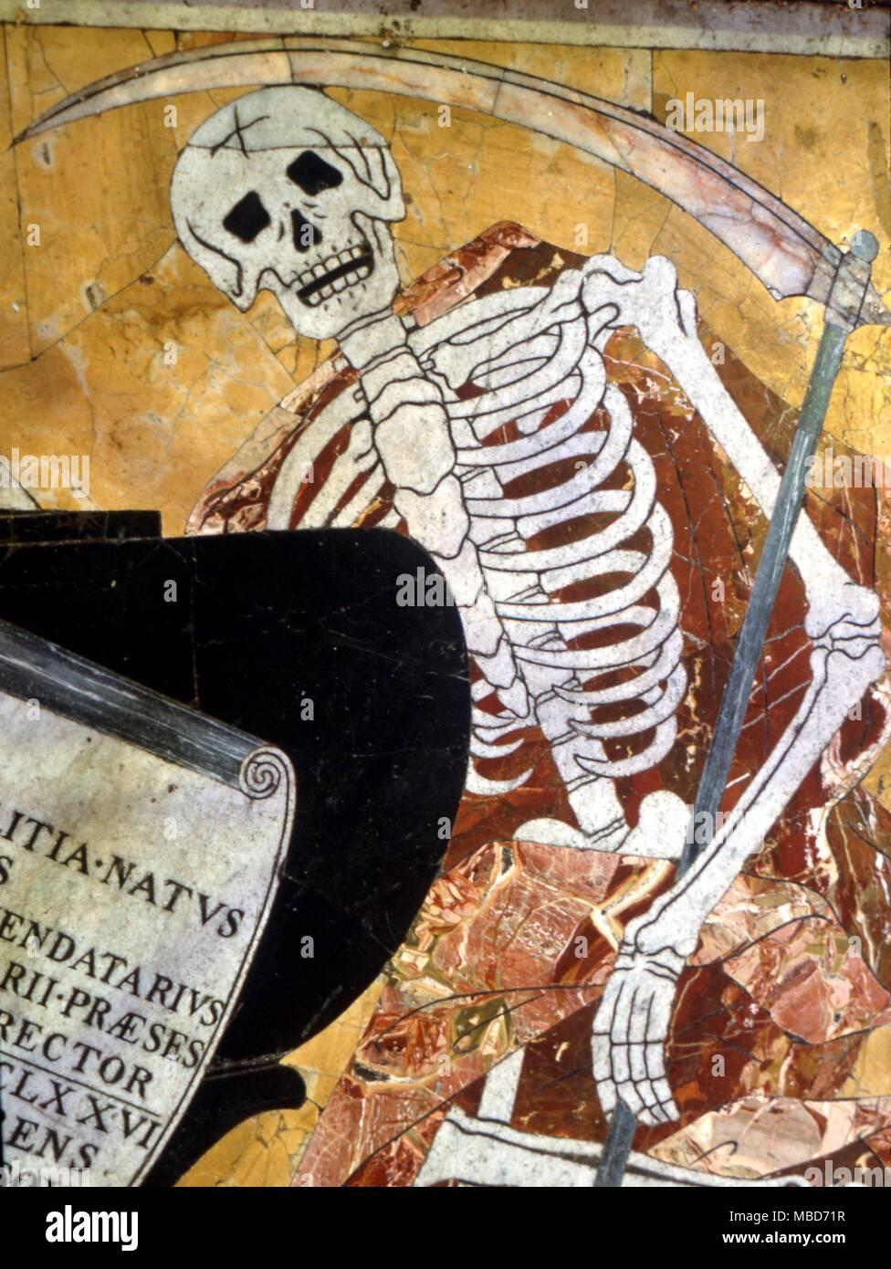 Muerte - esqueleto en mármol, desde el magnífico pavimento de mármol de la Catedral de St John, Valetta, Malta - Siglo XVIII Imagen De Stock