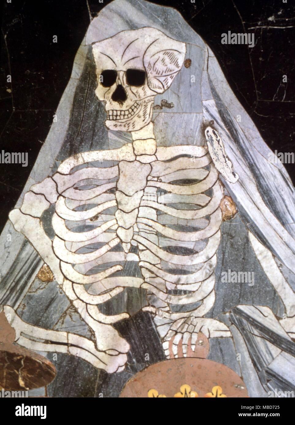 Muerte - esqueleto en mármol , desde el magnífico pavimento de mármol de la Catedral de St John, Valetta, Malta - Siglo XVIII Imagen De Stock