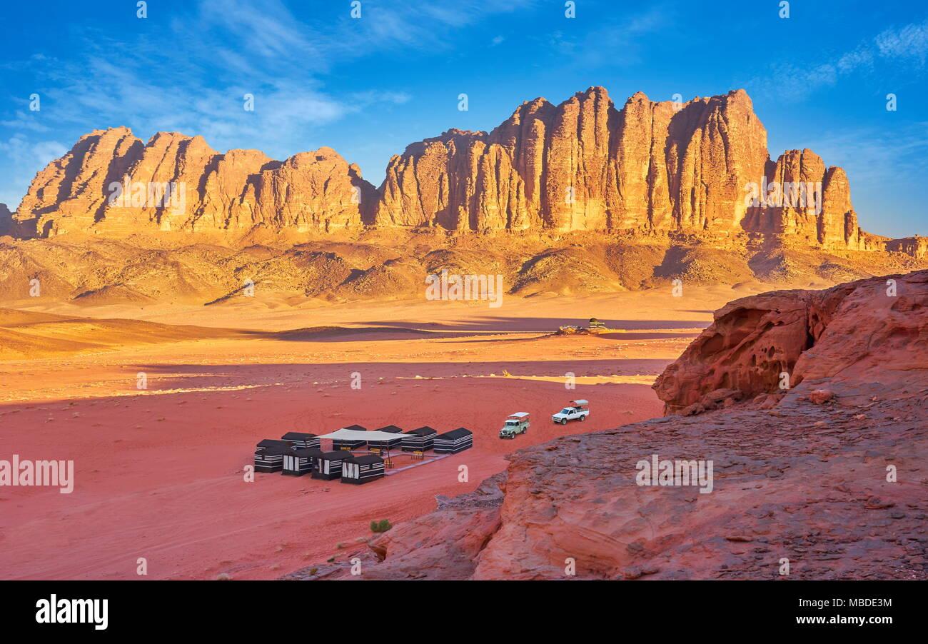 Beduin Camp, el desierto de Wadi Rum, Jordania Imagen De Stock