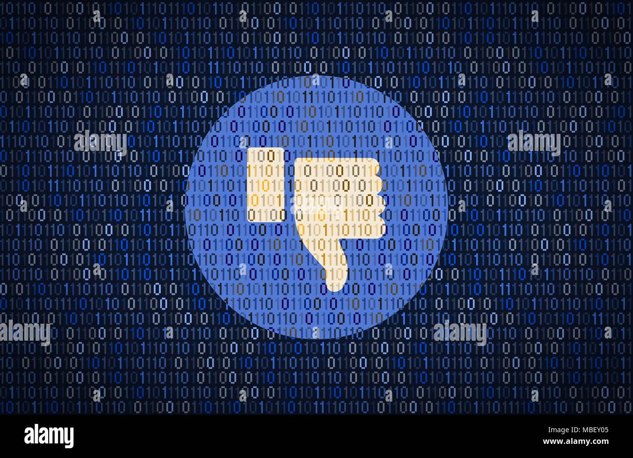 GALATI, Rumania - 10 de abril de 2018: Facebook pulgar abajo cuestiones de seguridad y privacidad. Concepto de encriptación de datos Imagen De Stock