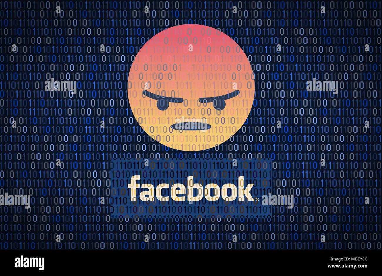 GALATI, Rumania - 10 de abril de 2018: datos de Facebook cuestiones de seguridad y privacidad. Concepto de encriptación de datos Imagen De Stock