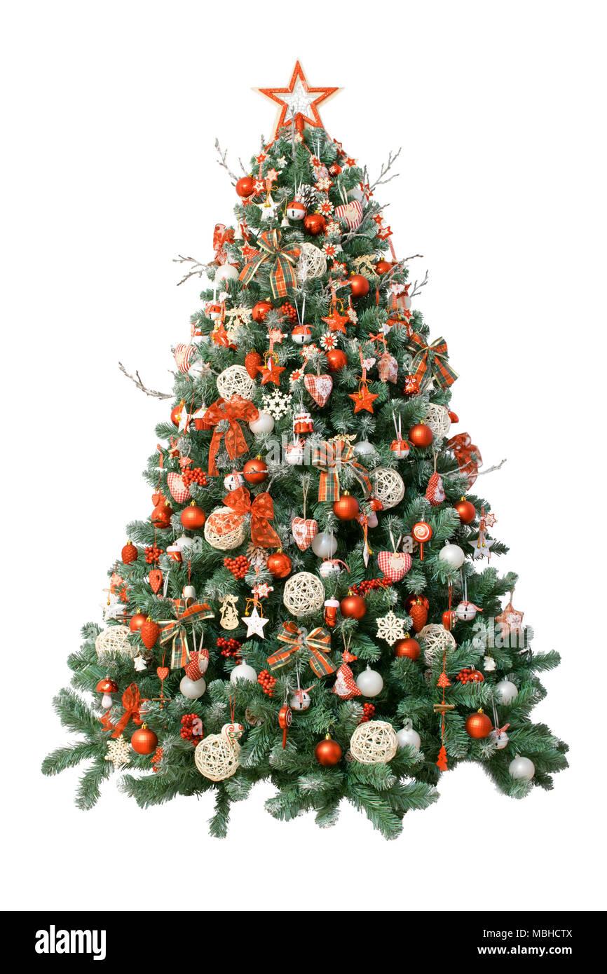 Rbol de navidad moderno aislado sobre fondo blanco decorado con ornamentos vintage ratan - Arbol navidad moderno ...