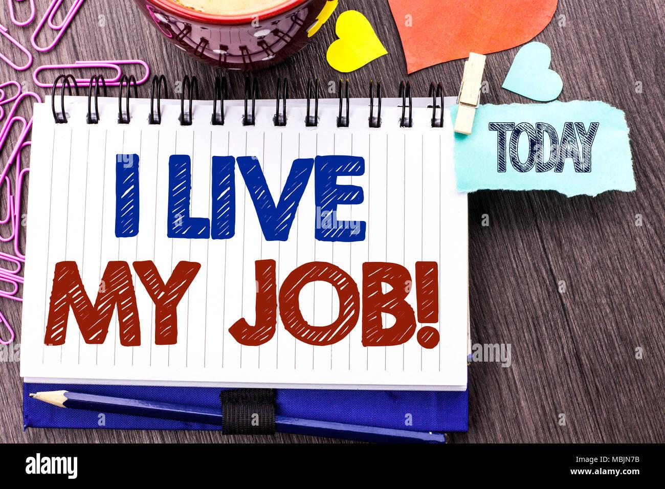 Escritura De Texto Escrito Yo Vivo Mi Trabajo Llamada