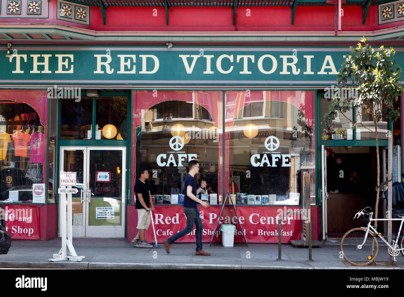Rojo Café Victorian B&B del Movimiento por la Paz Imagen De Stock