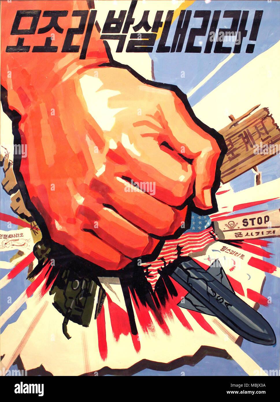 Anti-American-norcoreana-Poster-Smash Foto de stock
