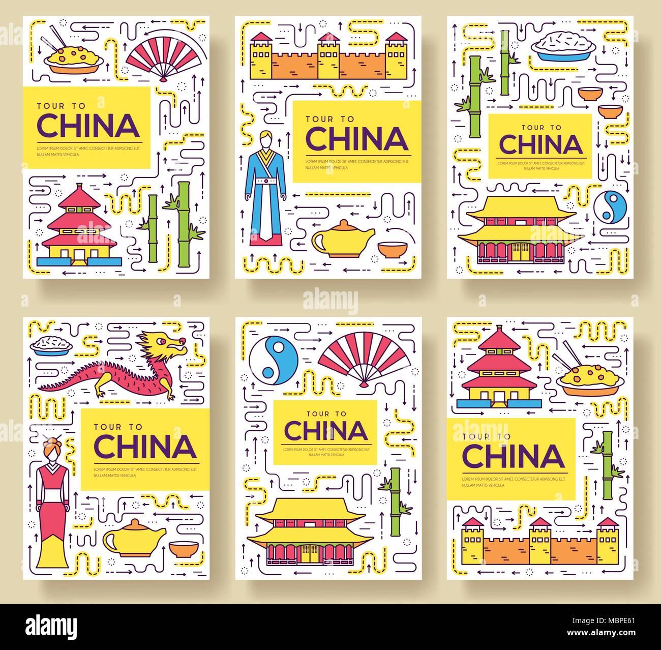 China vector tarjetas folleto línea delgada. País de flyear ...