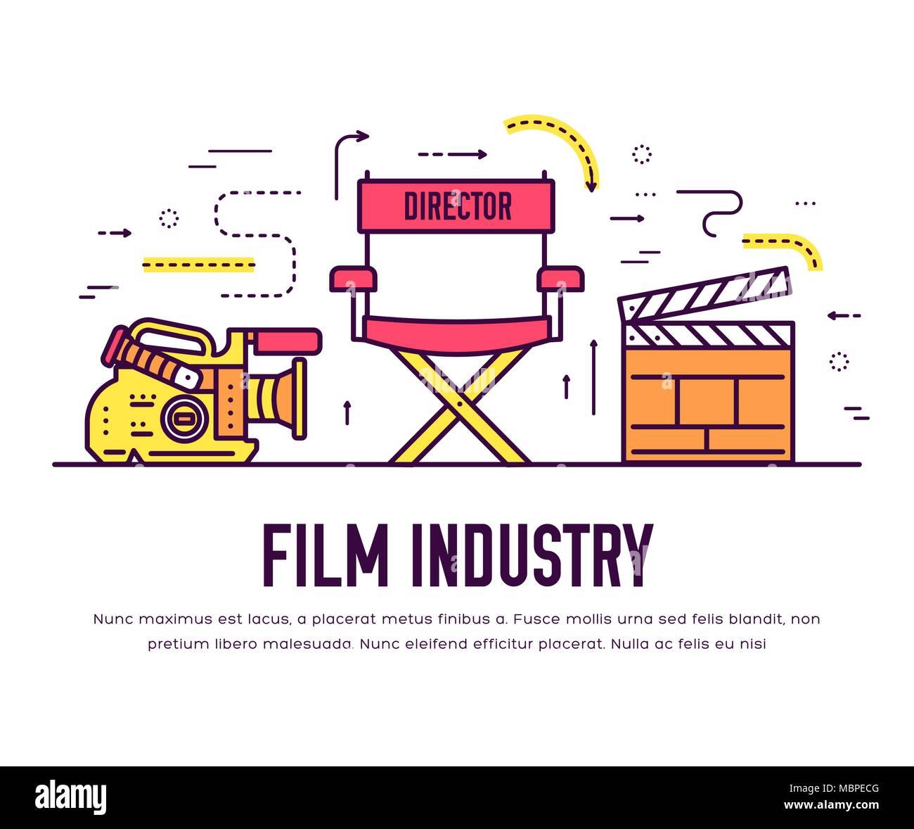 La industria del cine de calidad Premium conjunto de diseño de línea ...