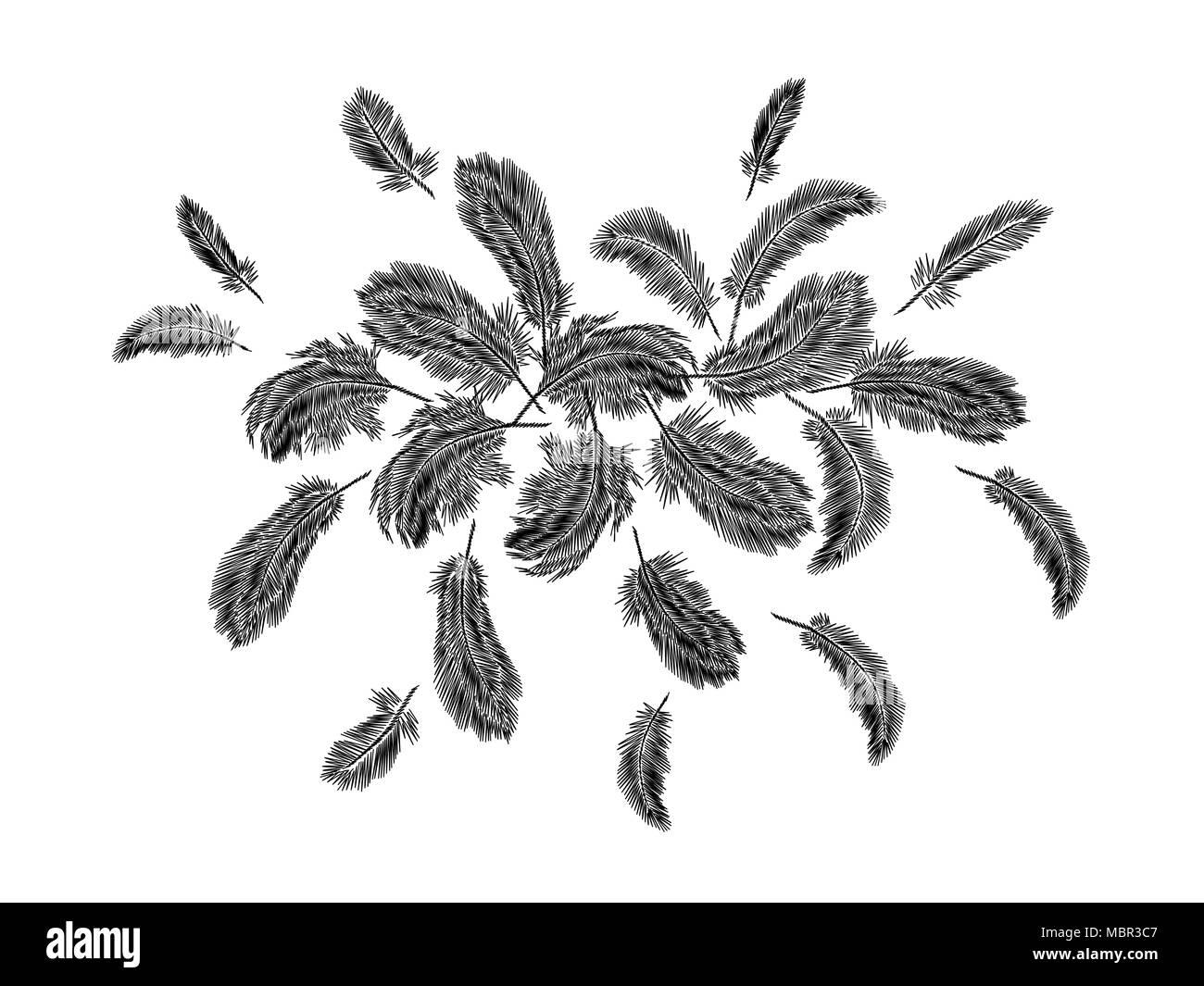Acuerdo de la ronda de bordado plumas vistosas. Boho ropa tribal ...