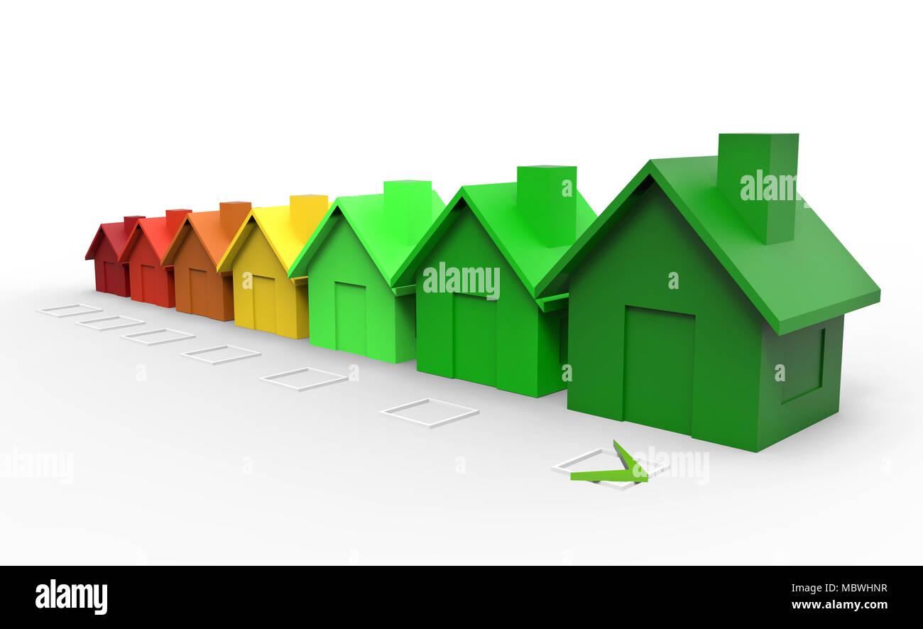 Casas multicolores directiva el concepto de eficiencia energética. Ilustración 3d Imagen De Stock