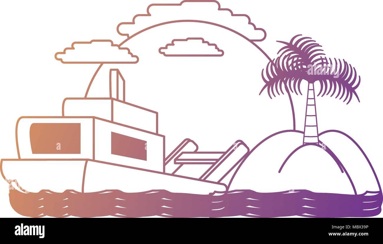 Resumen paisaje de playa con icono de barco sobre un fondo, colorido ...
