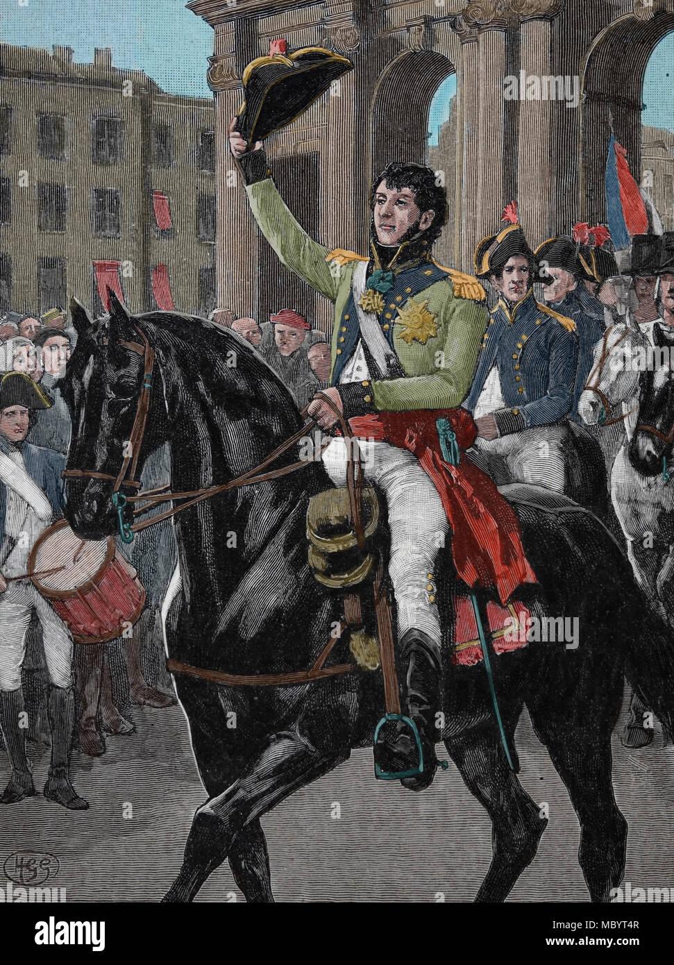 Guerra Peninsular (1807-1814). Las guerras napoleónicas. General Murat (1767-1815) entrada a Madrid, 23 de marzo de 1808. Foto de stock