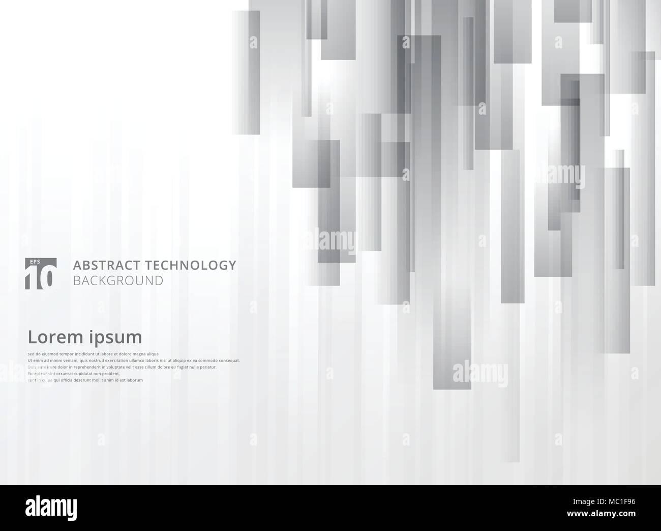 Tecnología abstracto geométrico de superposición vertical forma cuadrados color gris sobre fondo blanco con espacio de copia. Gráfico vectorial ilustración Imagen De Stock