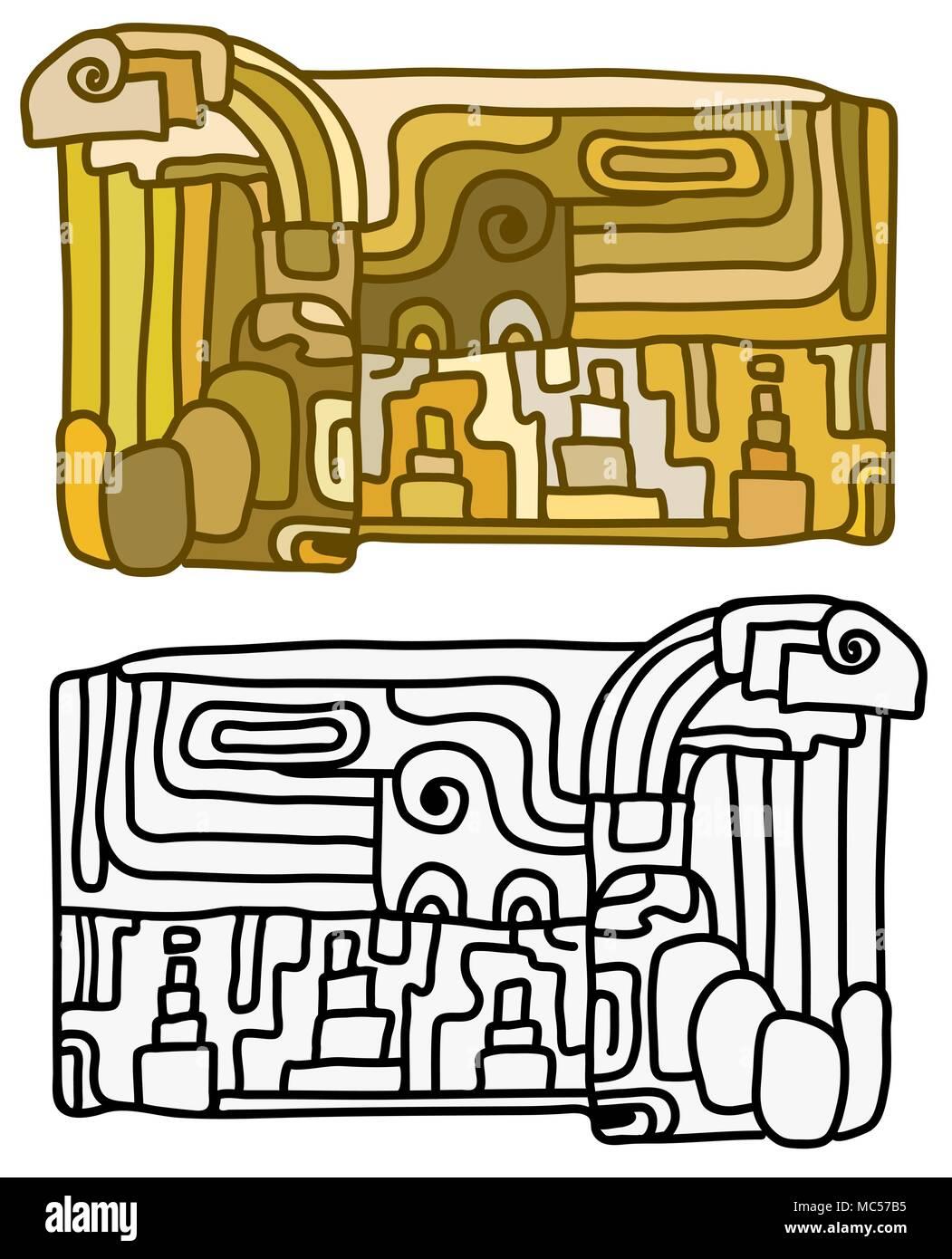 Diseño De Tableta Maya Caricatura Dibujo Versiones En Color Y En