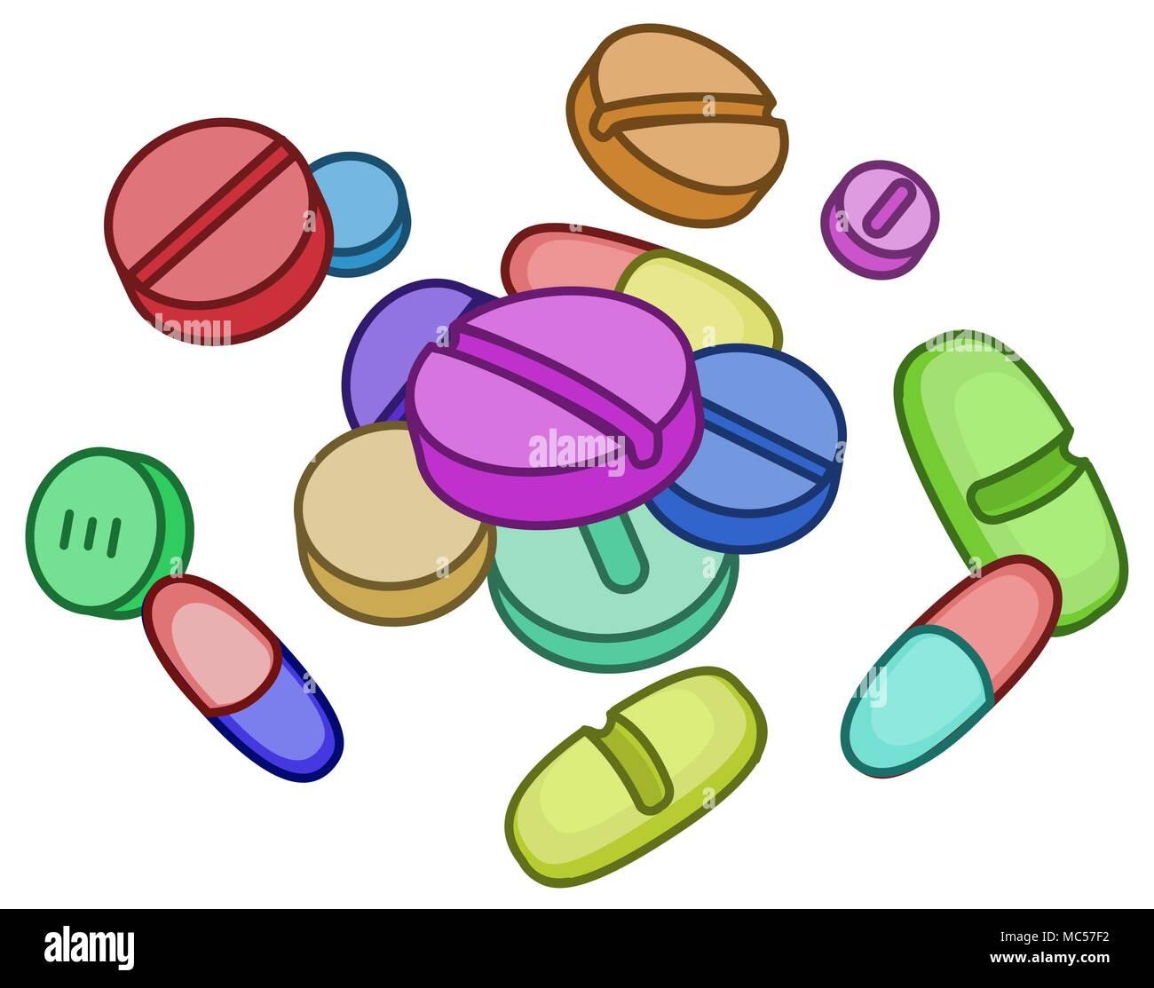 Pildora Medicina Drogas Caricatura Dibujo En Color Ilustracion