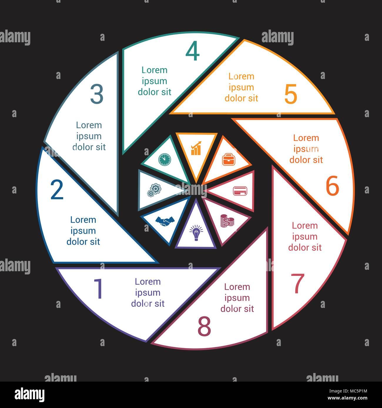 Gráfico circular con fondo negro de líneas coloreadas por 8 opciones ...