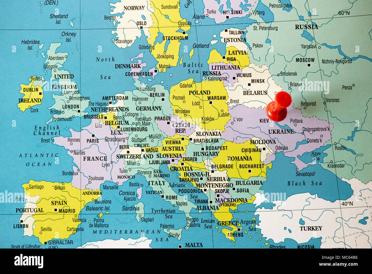 Politico Mapa Europa Con Capitales.Mapa Politico De Europa La Ciudad De Kiev Capital De