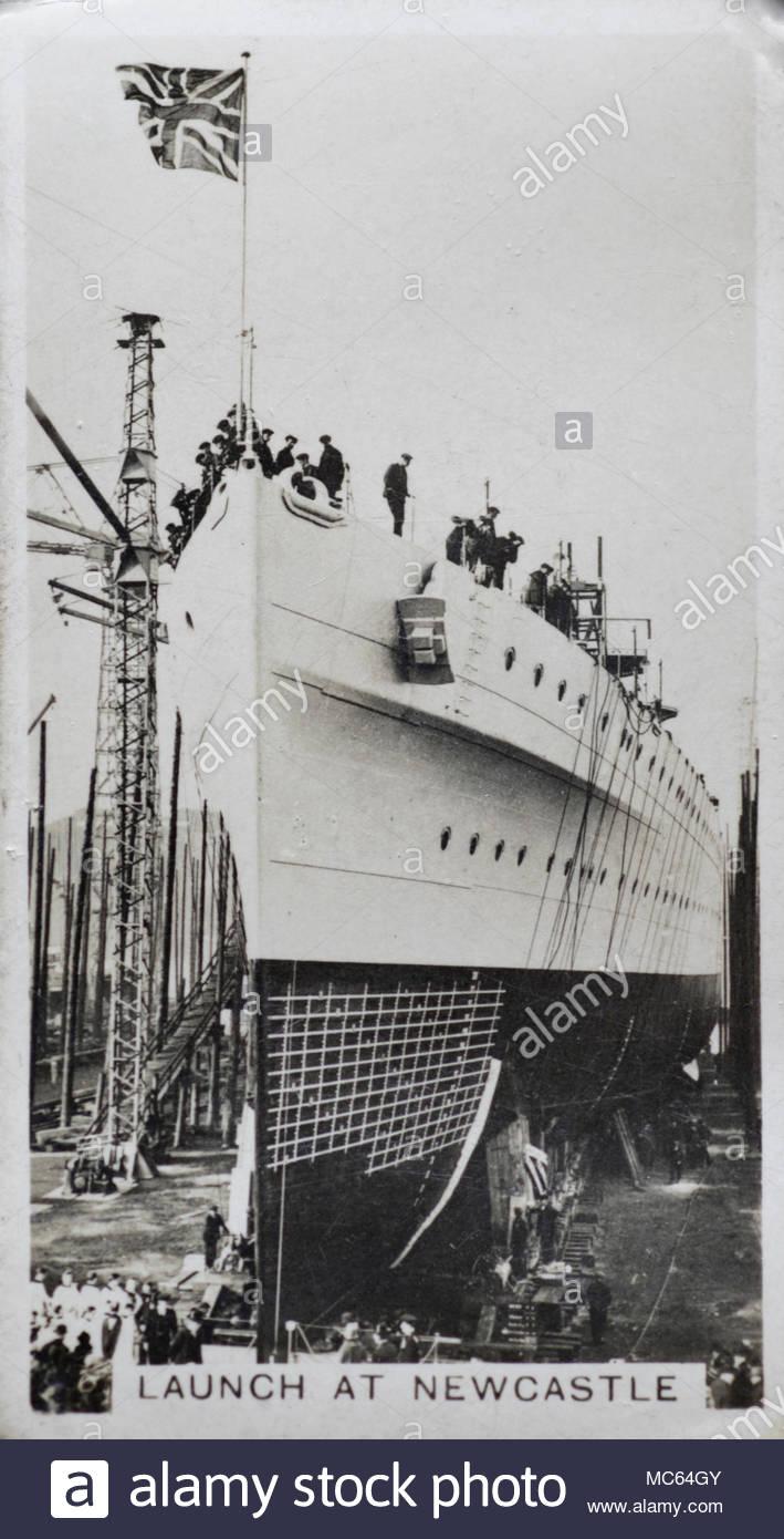Lanzamiento del HEAVY CRUISER H.M.S. Sussex en Newcastle upon Tyne en 1928 Foto de stock