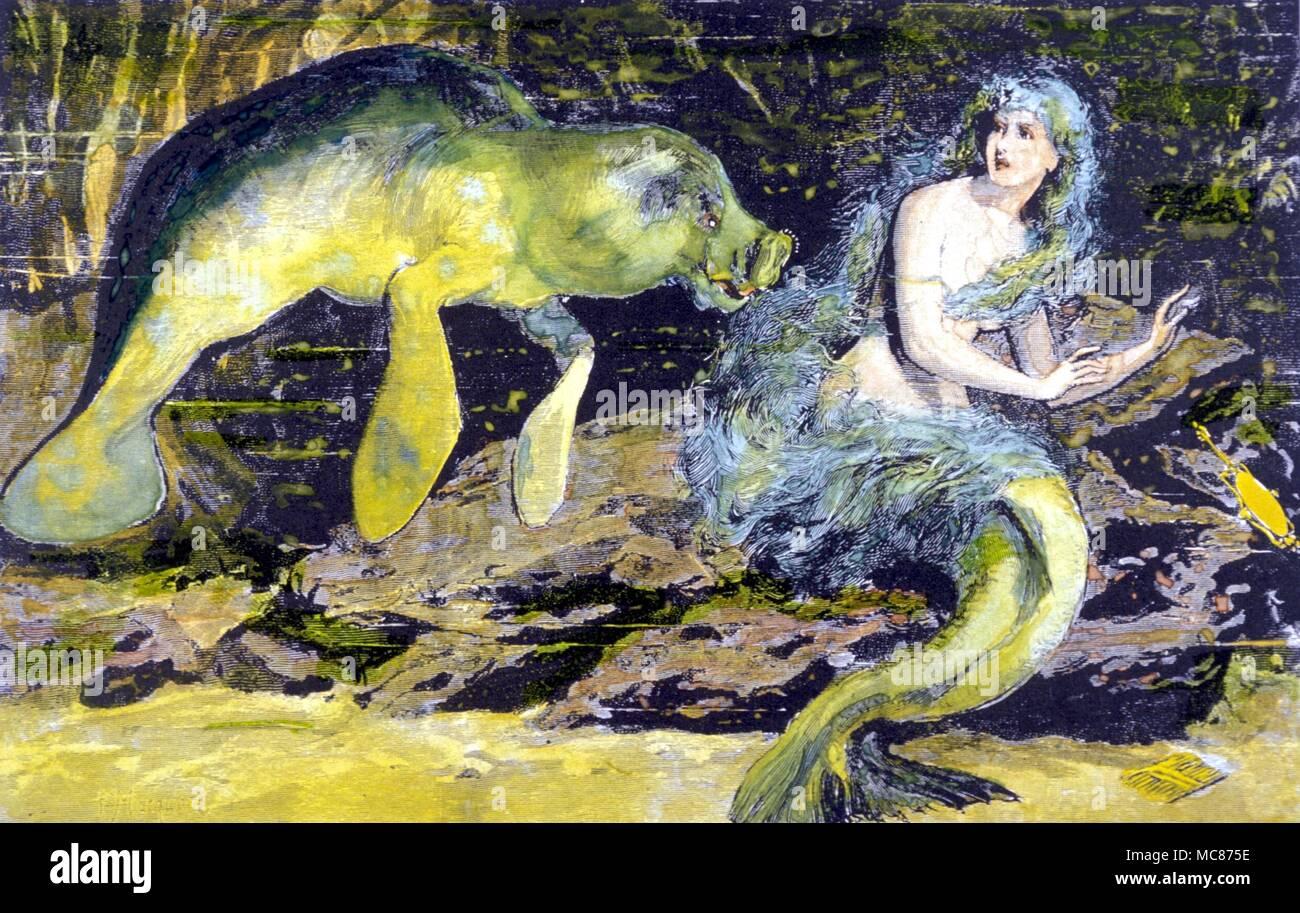 Monstruos con una sirena manatí, pensó que era un monstruo fabuloso, pero ahora sabe que es un herbívoro acuático cetáceos de la costa atlántica. Grabado en madera del siglo XIX. Foto de stock