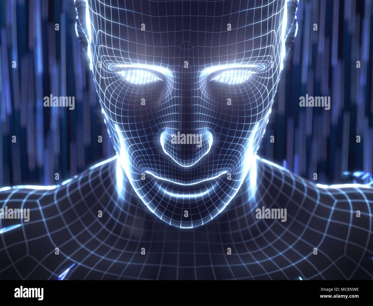 Concepto de inteligencia artificial con humano virtual avatar. Ilustración 3d. adecuado para la tecnología, la inteligencia artificial, minería de datos,profunda learnin Foto de stock