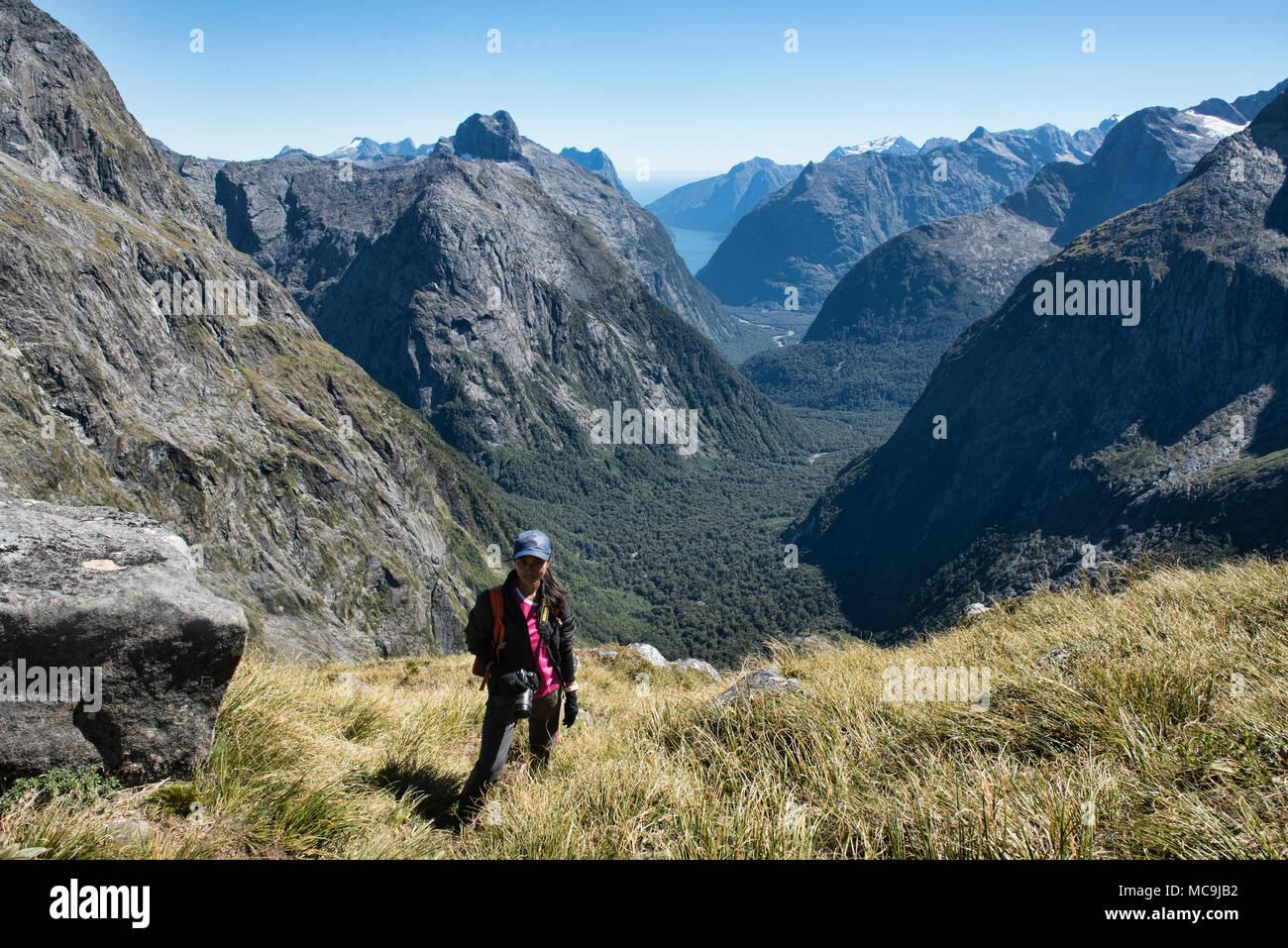 Increíbles vistas desde el sillín, Gertrudis Fjordland, Nueva Zelanda Imagen De Stock