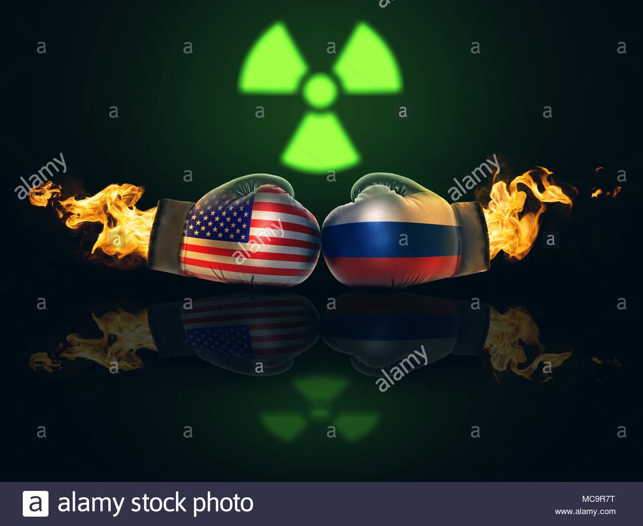 Crisis entre Estados Unidos y Rusia se convertirá en una confrontación directa concepto Imagen De Stock