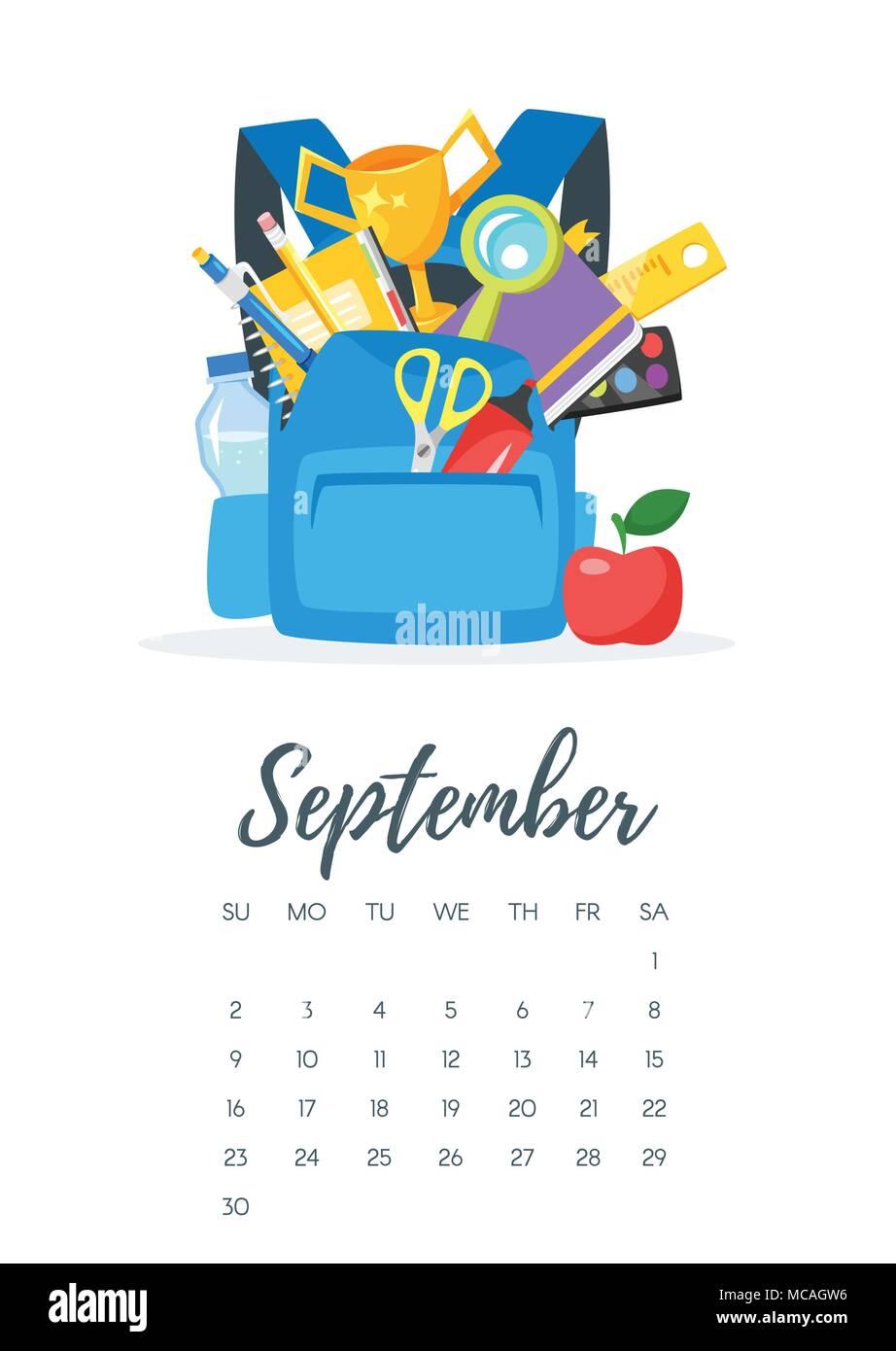 Calendario Dibujo Septiembre.Ilustracion Del Estilo De Dibujos Animados De Vectores De