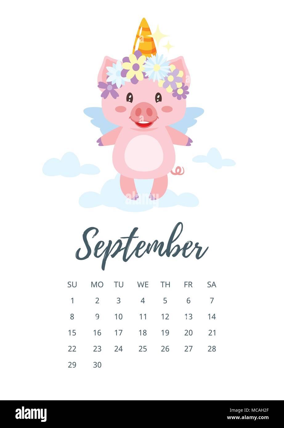 Calendario De Septiembre 2019 Para Imprimir Animado.Ilustracion Del Estilo De Dibujos Animados De Vectores De