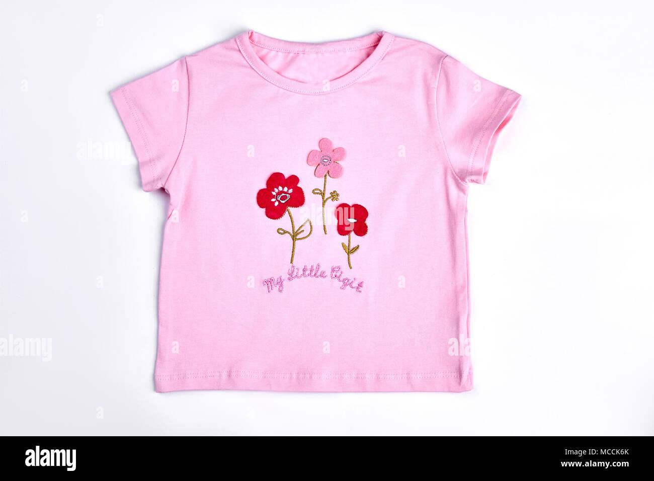 6db07768bc68 Baby-girl pink cartoon t-shirt. Hermoso algodón camiseta de manga corta para
