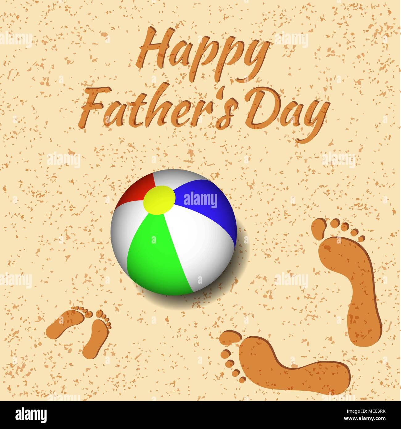 Día Del Padre Concepto De Vacaciones En La Playa Una Bola