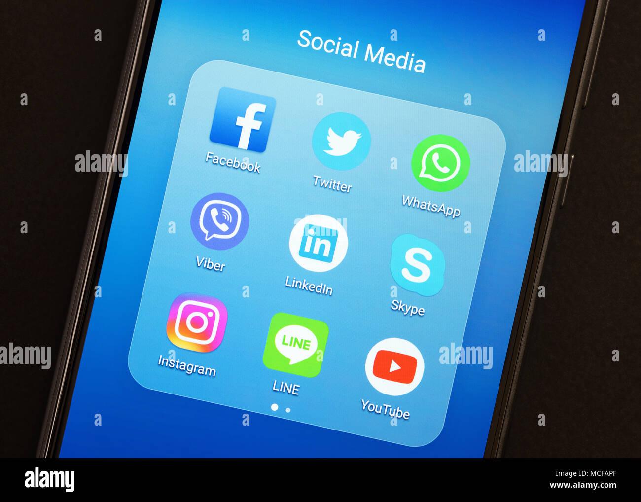 Social Media Apps en un smartphone Imagen De Stock