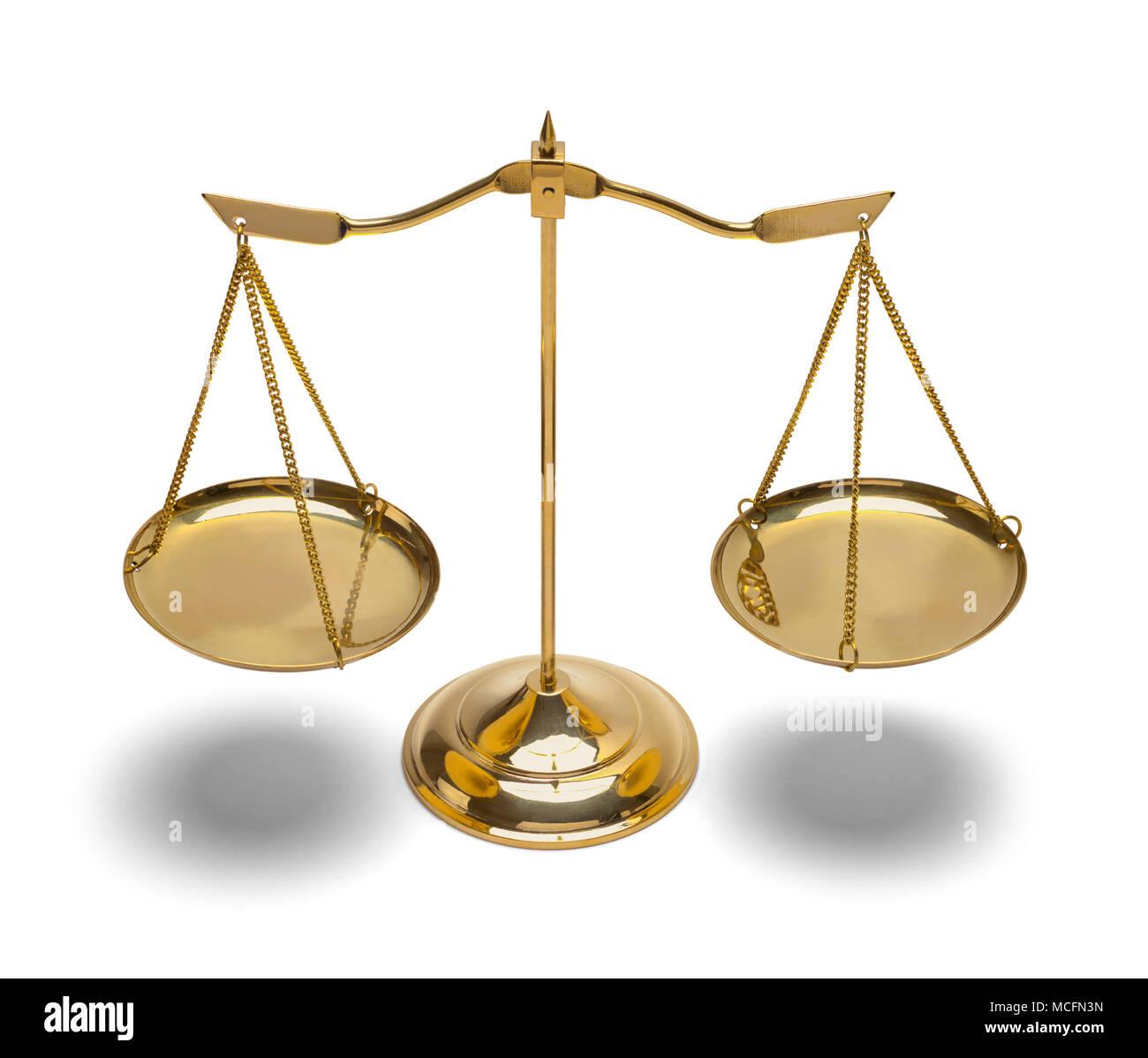Ley de latón escalas aislado sobre fondo blanco. Foto de stock